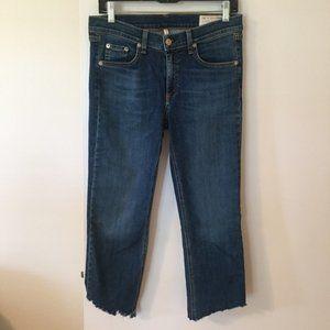 RAG & BONE Straight Leg Crop Raw Hem Jeans